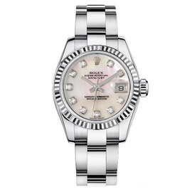 Rolex Datejust Steel Oyster Custom Band with Mother of Pearl Diamond Dial Womens Watch
