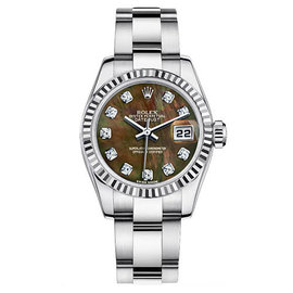 Rolex Datejust Steel Oyster Custom Band with Black Mother of Pearl Diamond Dial Womens Watch