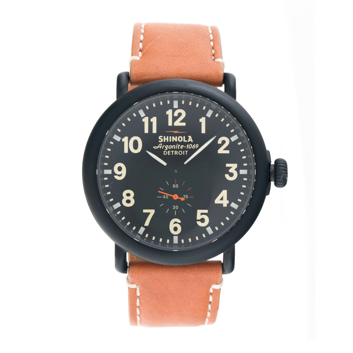 "Image of ""Shinola The Runwell S0100011 Black Dial Tan Leather 47mm Mens Watch"""