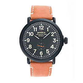 Shinola The Runwell S0100011 Black Dial Tan Leather 47mm Mens Watch