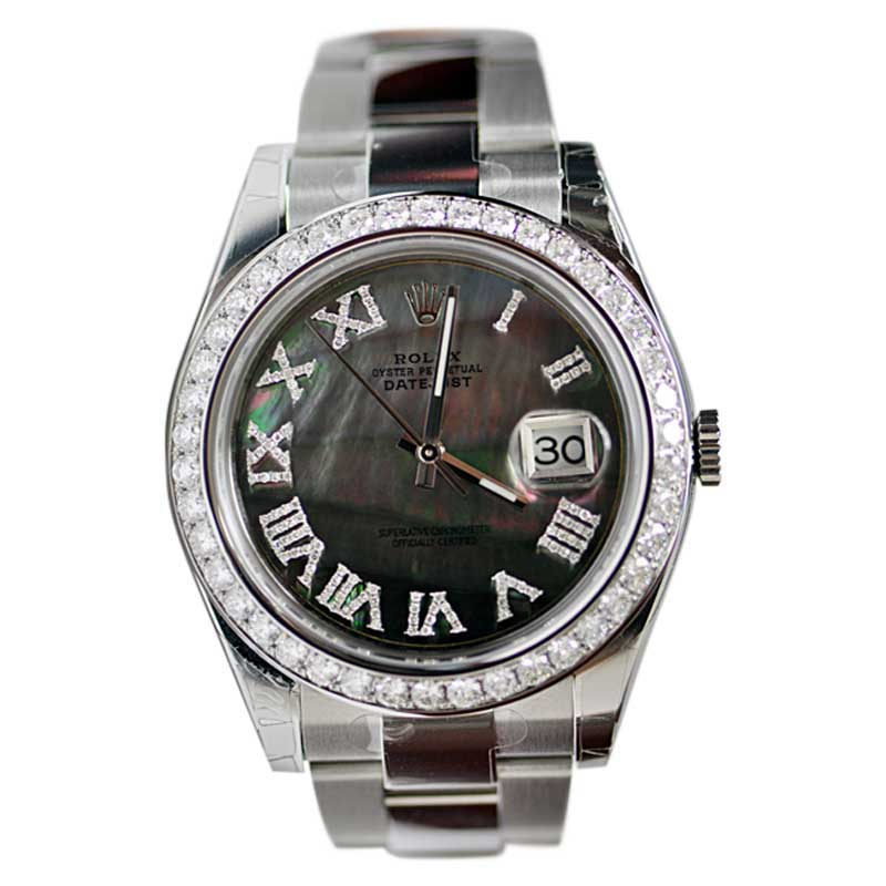 """Image of """"Rolex 116300 Datejust 2 Stainless Steel With Grey MOP Roman Diamond"""""""