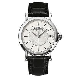 Patek Philippe Calatrava 18K White Gold Watch on Leather Strap 5153G