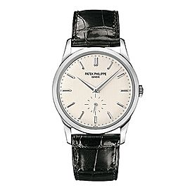 Patek Philippe Calatrava 18K White Gold Watch on Leather Strap 5196G