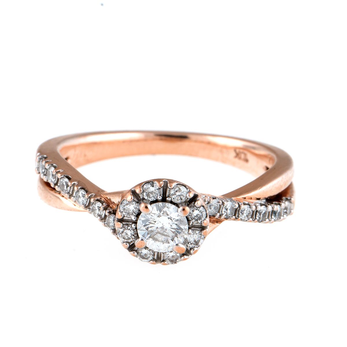 "Image of ""10K Rose Gold Diamond Ring Size 6.5"""