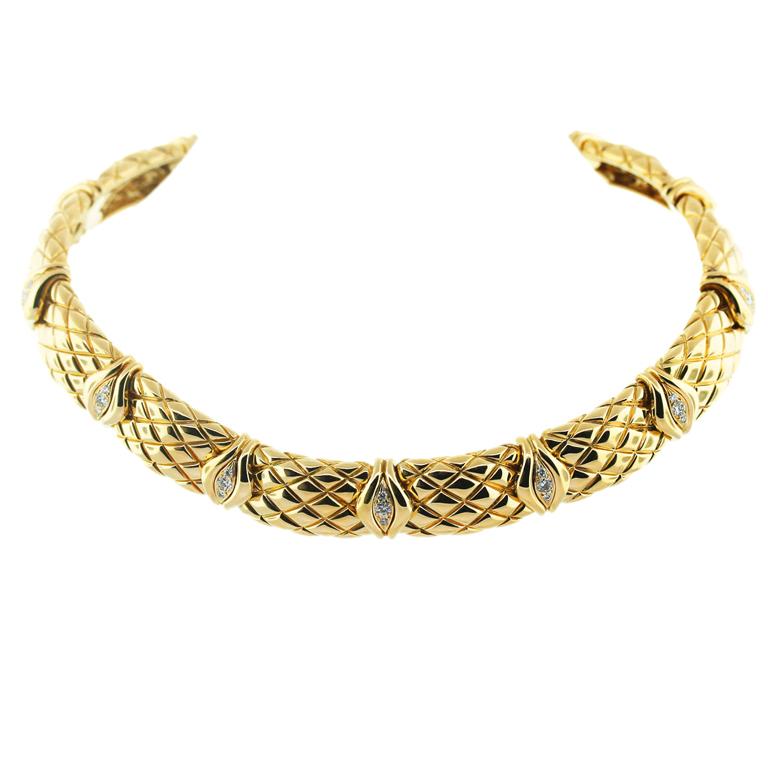 """Image of """"Mauboussin 18K Yellow Gold & 2.25ct. Diamond Choker Necklace"""""""