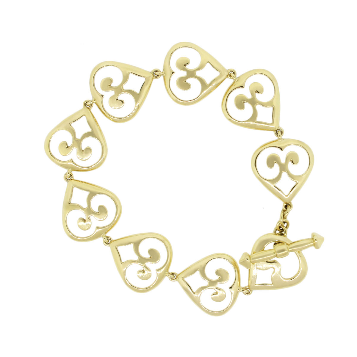 "Image of ""Elizabeth Rand 18K Yellow Gold Heart Bracelet 8.25"""