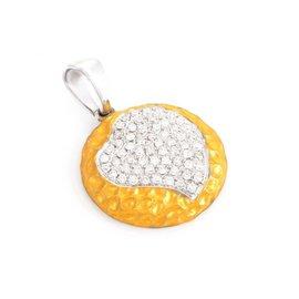 18K Yellow & White Gold Micro Pave Heart Pendant