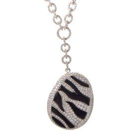 18K White Gold Zebra Stripped Diamond Pave Oval Necklace