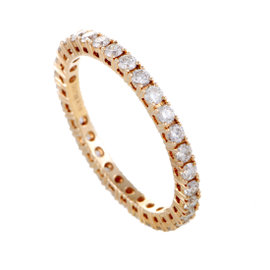 18K Rose Gold Diamond Eternity Band Ring Size 6.75