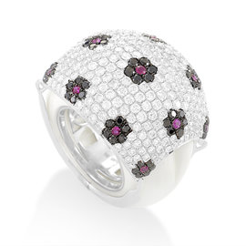 18K White Gold Floral Gemstone Pave Dome Ring