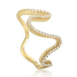 18K Yellow Gold & Diamond Zigzag Band Ring