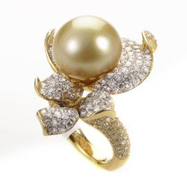 18K Yellow Gold Diamond & Yellow Pearl Flower Ring
