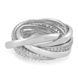 18K White Gold Five Band Diamond Ring