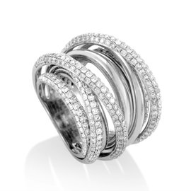 18K White Gold Multi-Band Diamond Ring
