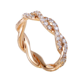 18K Rose Gold Diamond Pave Eternity Band Ring Size 6.5