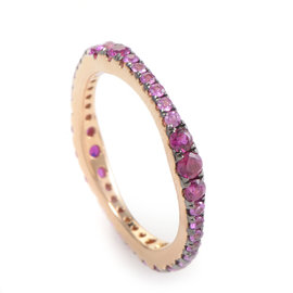 18K Rose Gold Pink Sapphire Band Ring