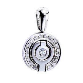 18K White Gold & Diamond Round Pendant