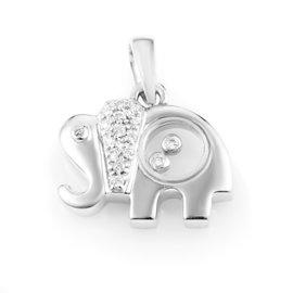 18K White Gold Diamond Elephant Pendant