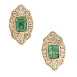 18K Yellow Gold Diamond and Single Emerald Small Almond Stud Earrings