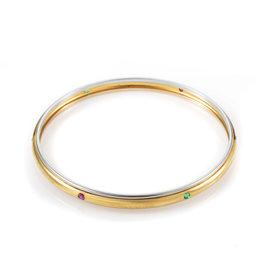 Yves Saint Laurent 18K Multi-Tone Gold Precious Gemstone Bangle