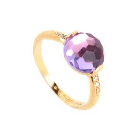 Zoccai 18K Rose Gold Amethyst & Diamond Ring