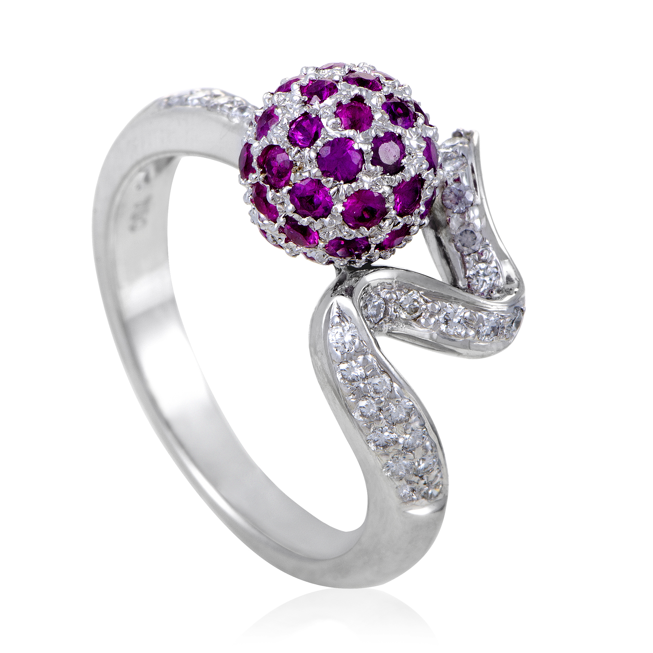 "Image of ""Zoccai 18K White Gold Diamond and Ruby Sphere Ring Size 6.5"""