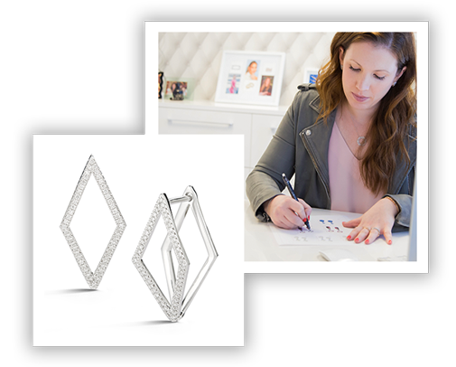 Dana Rebecca Designs's Cutout Elongated Diamond Earrings